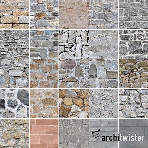 25 Seamless Stone Wall Textures - 3DOcean Item for Sale