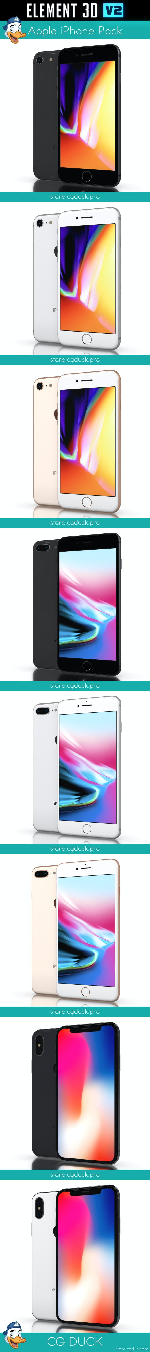 Apple iPhones Pack for Element 3D - 3DOcean Item for Sale