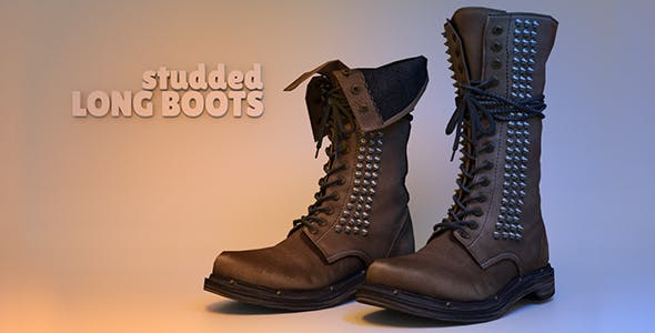 Studded Long Boots - 3DOcean Item for Sale