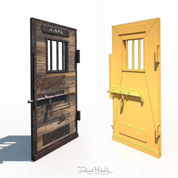 Western Prison Jail Door Low Poly PBR
