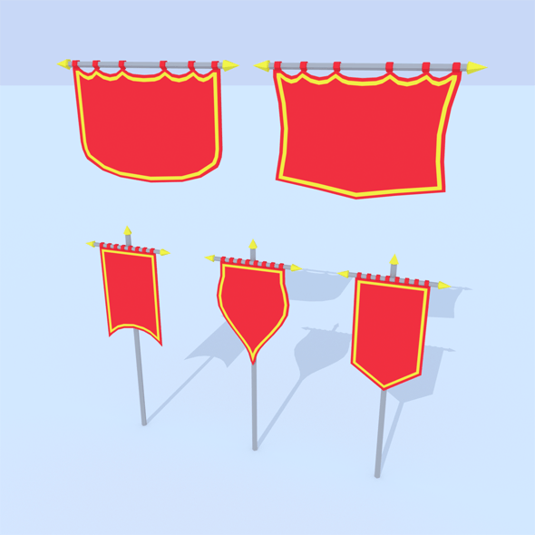 LowPoly Cartoon Banners - 3DOcean Item for Sale