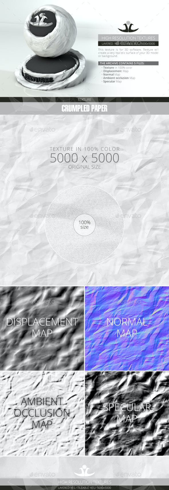 Crumpled Paper 2 - 3DOcean Item for Sale