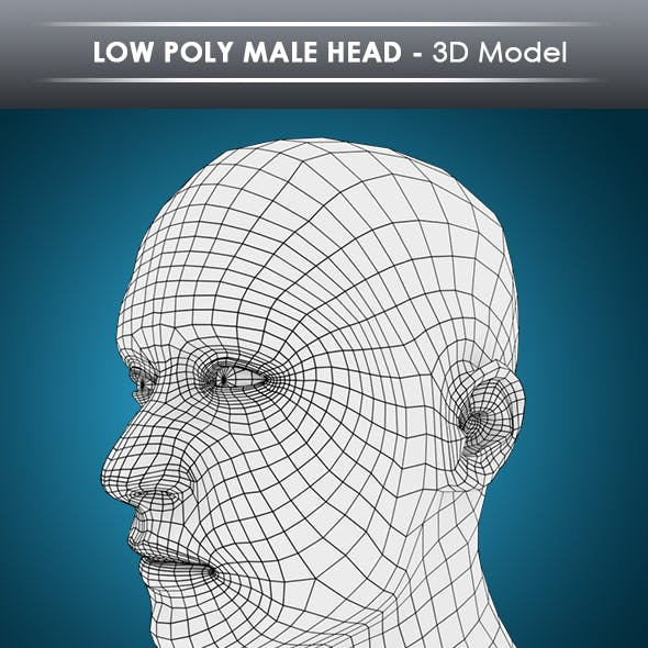 low poly male head base mesh