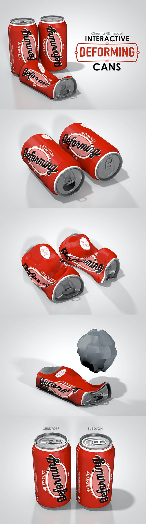 Interactive deforming cans - 3DOcean Item for Sale