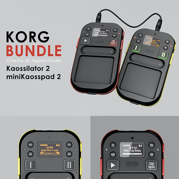 Korg Kaossilator 2 and miniKaosspad 2 Rigged