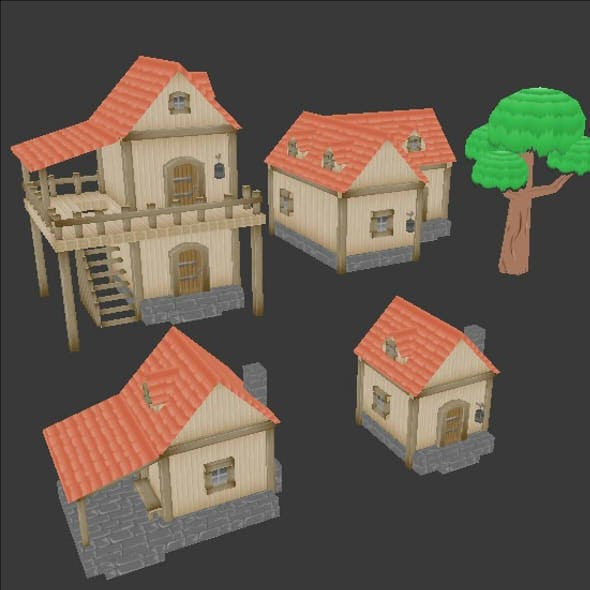 four lowpoly houses medieval style