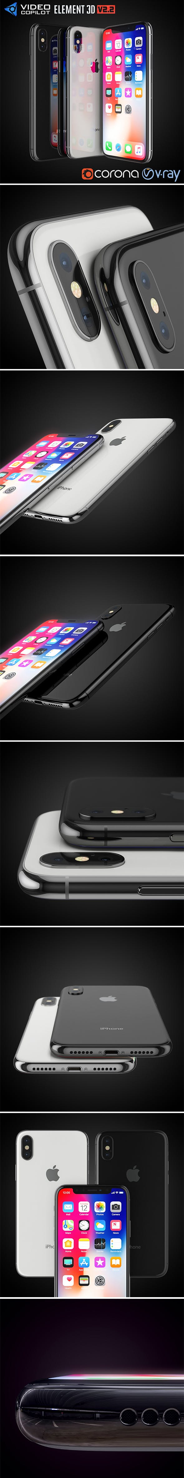 Apple iPhone X All colors - 3DOcean Item for Sale