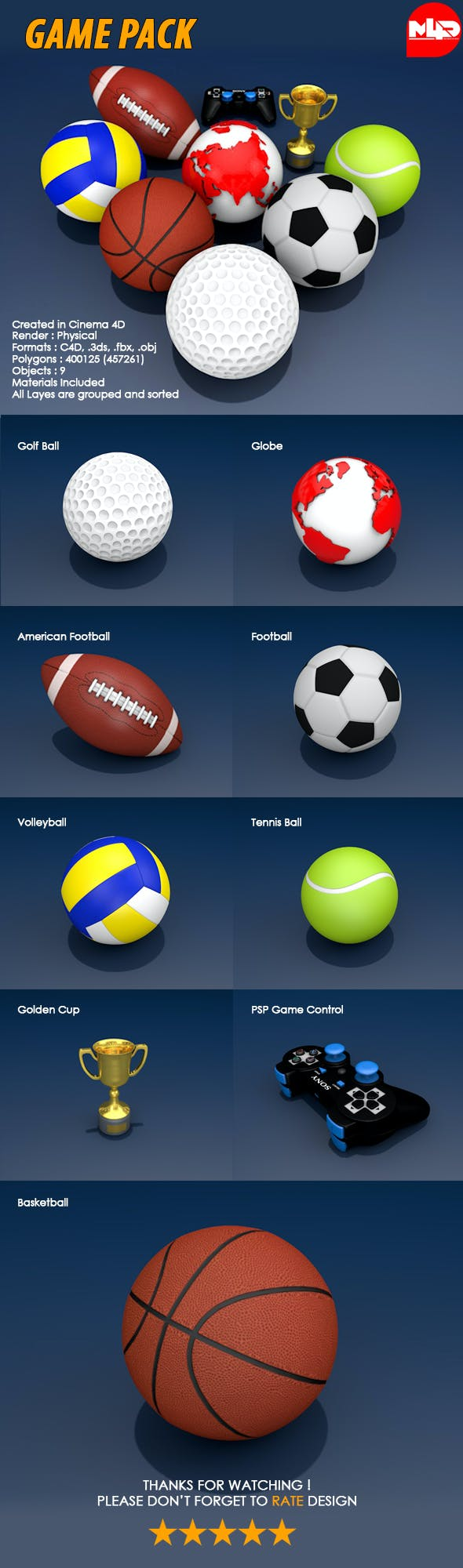 Sports Game Pack - 3DOcean Item for Sale