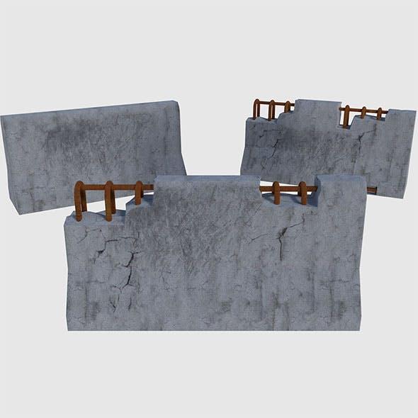 Concrete Road Blocks - Game Ready