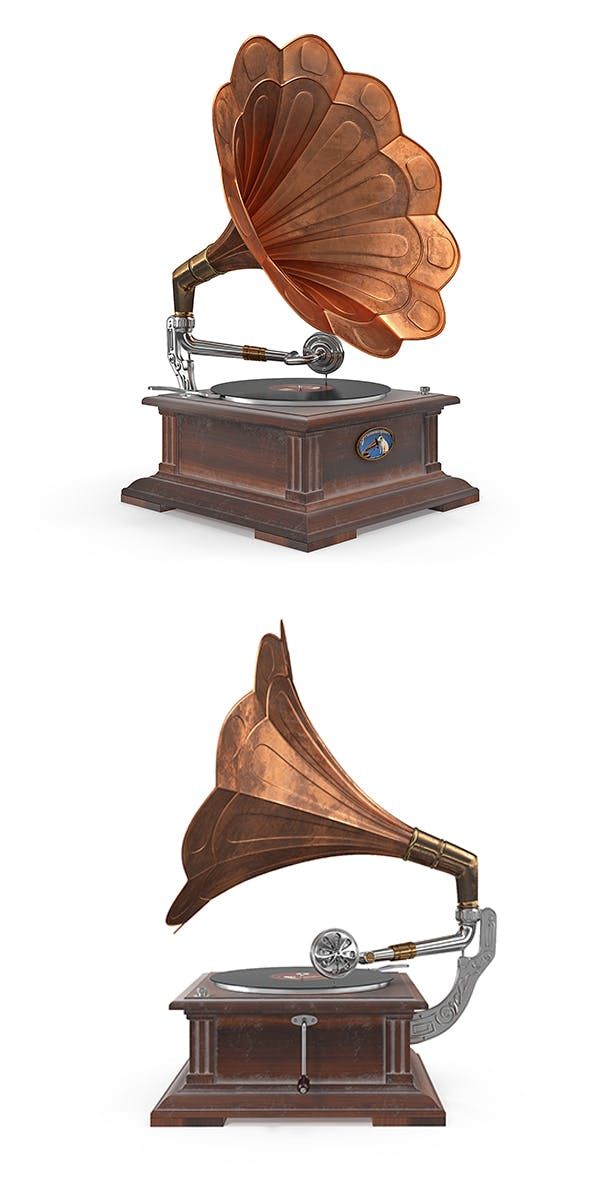 Old classical phonograph 3D model - 3DOcean Item for Sale