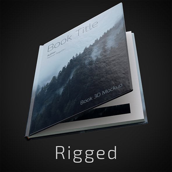 Rigged Hardcover Book Mockup - 3DOcean Item for Sale