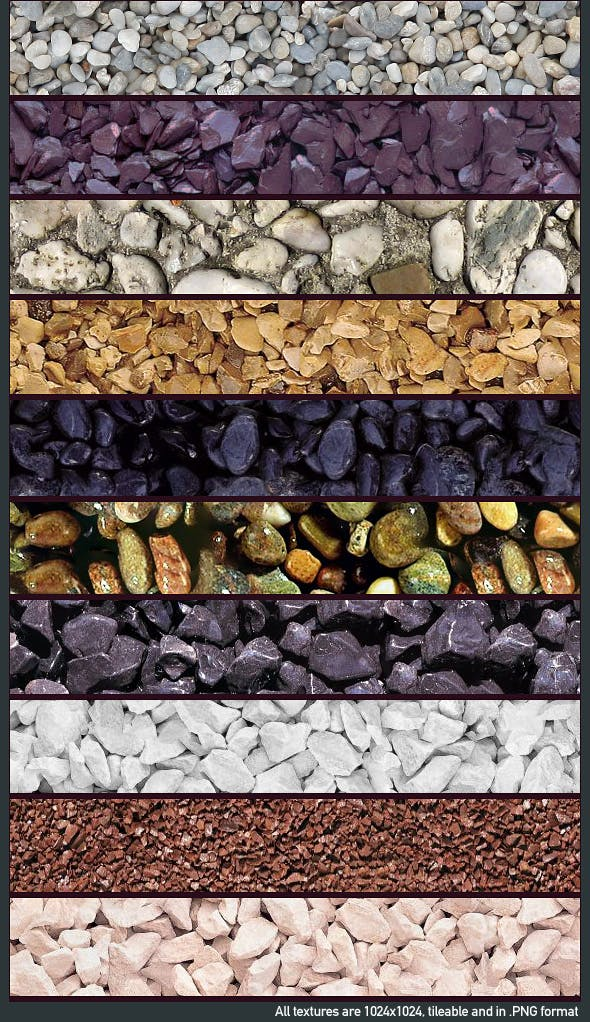Seamless Gravel Texture Pack (x10) - 3DOcean Item for Sale