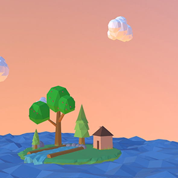 Low-poly island in the see
