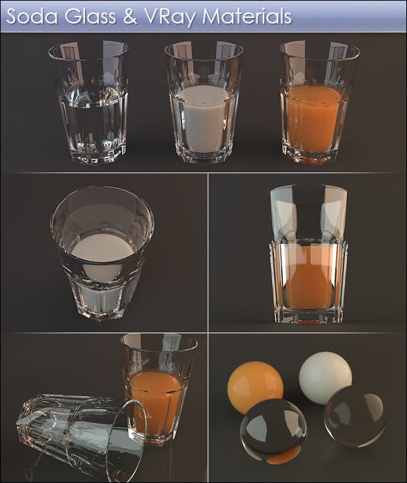 High Detail Soda Glass with VRay Materials - 3DOcean Item for Sale