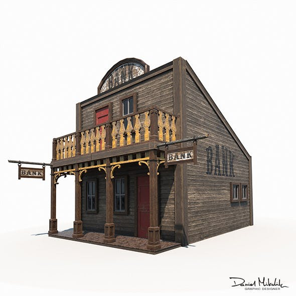 Western Bank Low Poly PBR