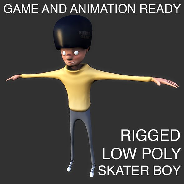 Low poly skater boy character