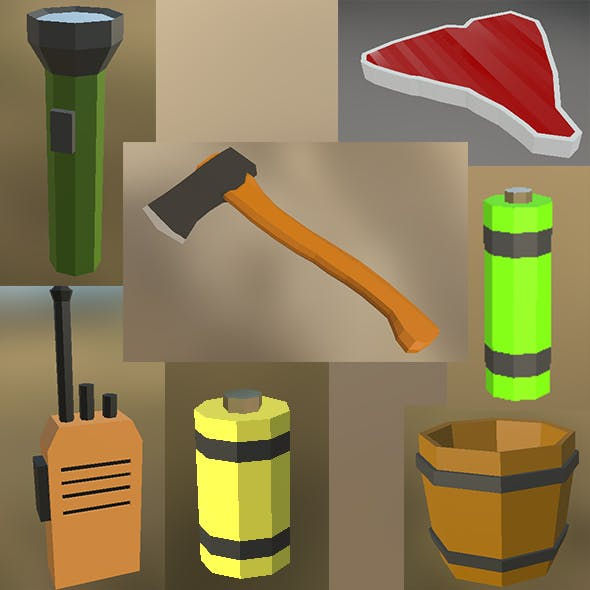 Low poly small survival kit and MISC - 3DOcean Item for Sale