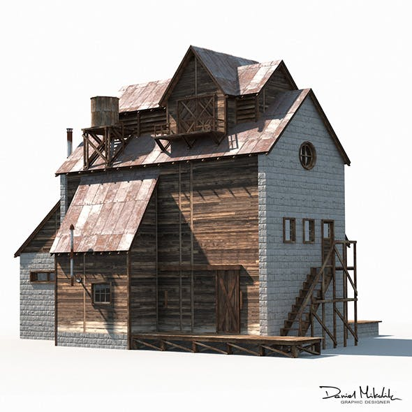 Old Factory Barn Low Poly