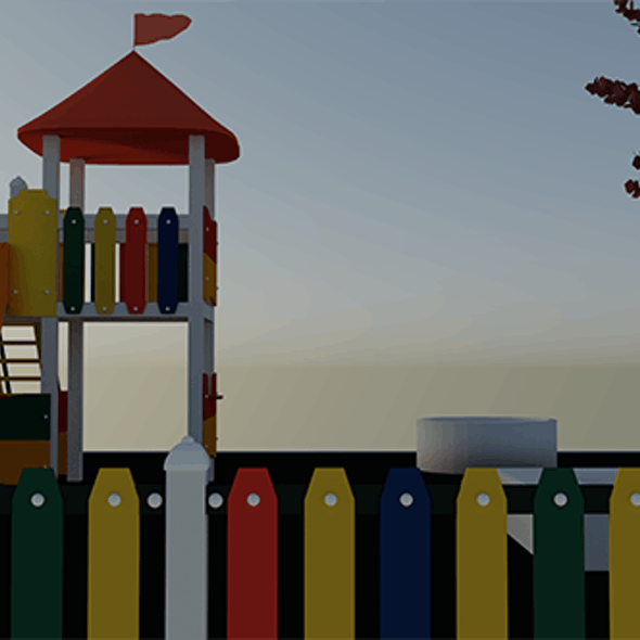 Colorful Playground Slide & Tree