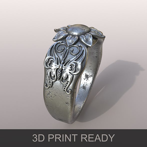 Ring Silver Butterfly - 3DOcean Item for Sale