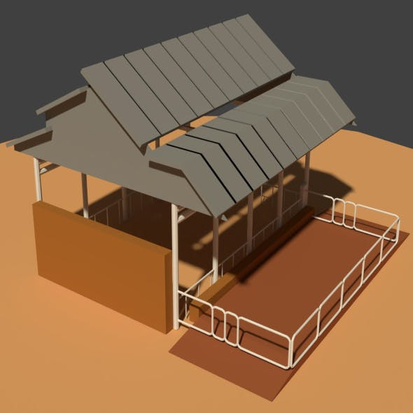 Low Poly Cowshed - 3DOcean Item for Sale