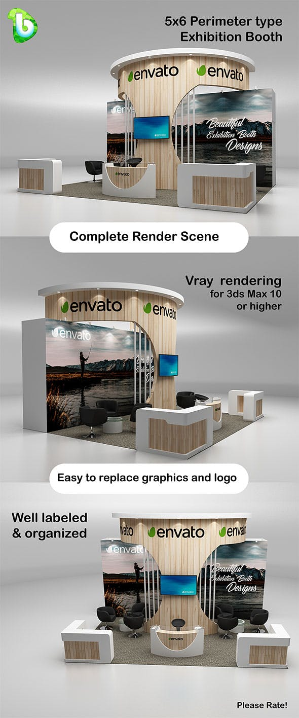 Exhibition Booth - Perimeter 5x6 - 3DOcean Item for Sale