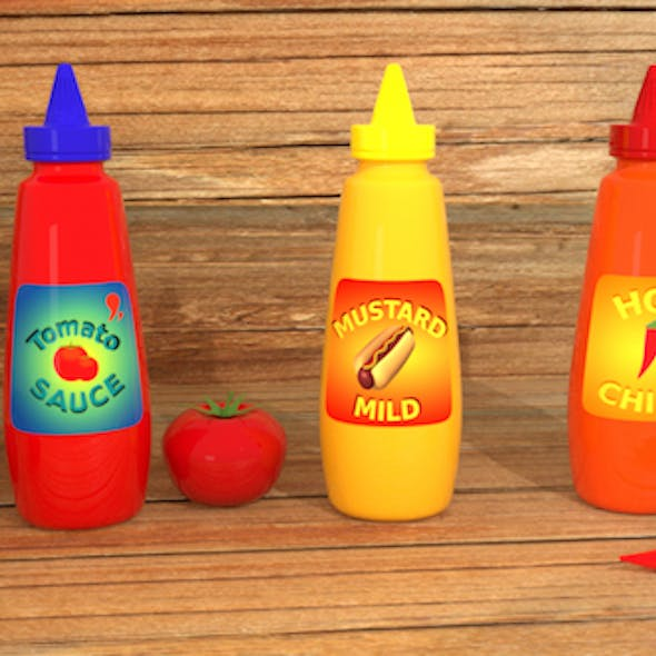 Sauce Bottle with labels