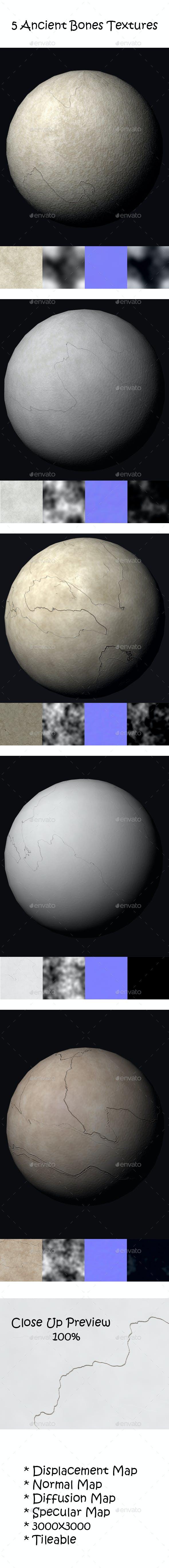 5 Ancient Bones Tileable Textures - 3DOcean Item for Sale