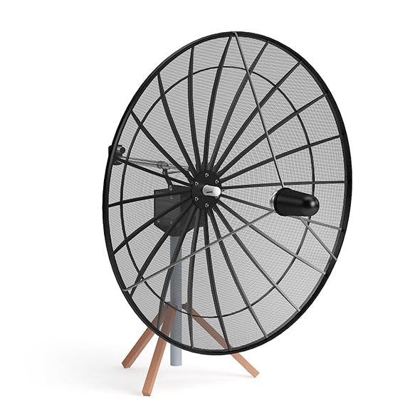 Black Satellite Dish 3D Model
