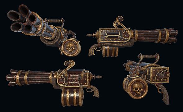 Steampunk Gattling Machinegun - 3DOcean Item for Sale