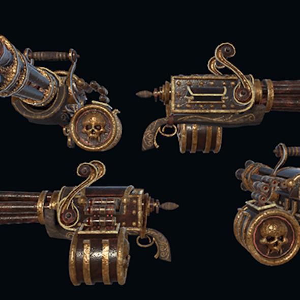 Steampunk Gattling Machinegun