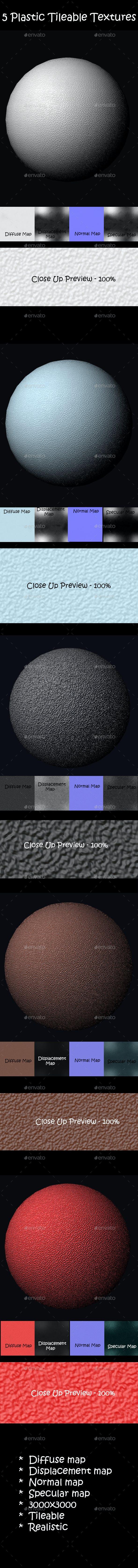 5 Realistic Plastic Tileable Textures - 3DOcean Item for Sale
