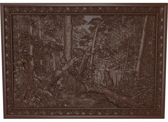 Morning in a Pine Forest (bears) Bas relief - 3DOcean Item for Sale