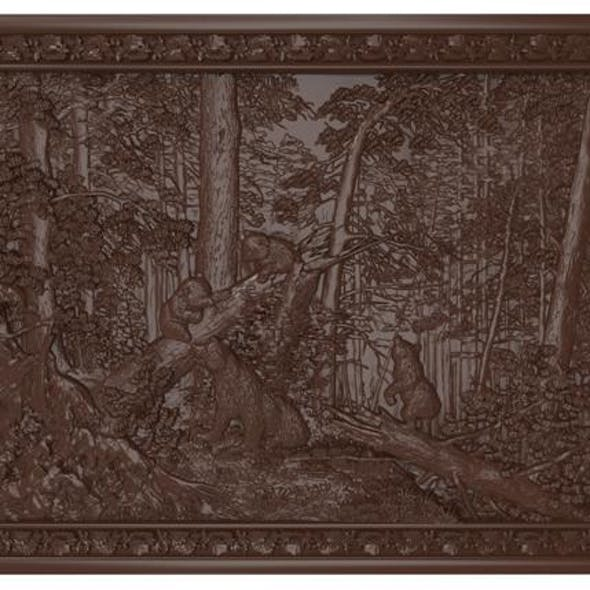 Morning in a Pine Forest (bears) Bas relief