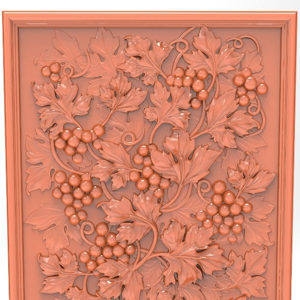 Grape with leaves bas relief for CNC