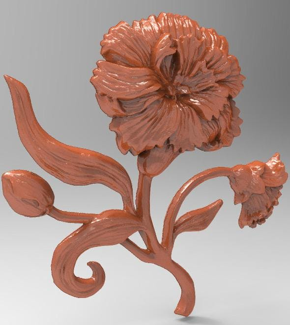 Carnation bas relief for CNC - 3DOcean Item for Sale