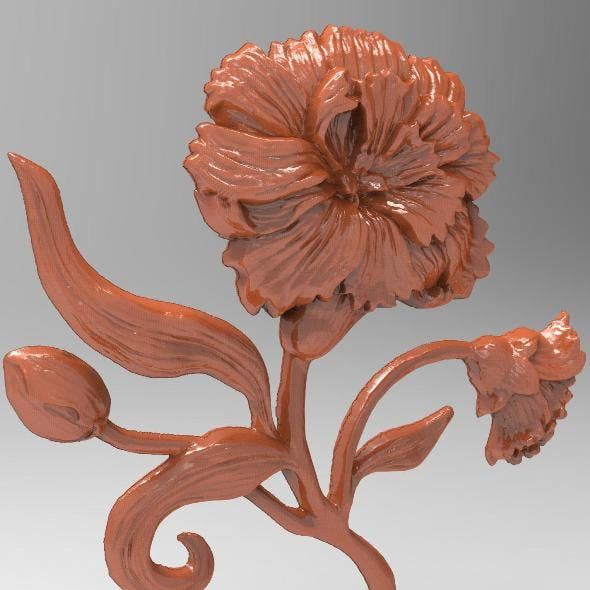 Carnation bas relief for CNC