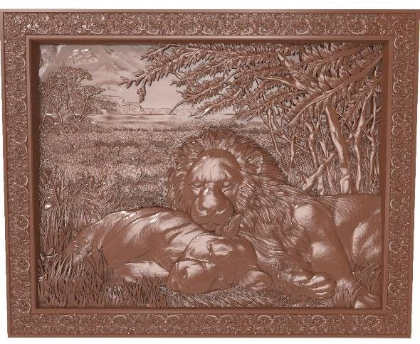 Lions at rest Bas relief for CNC - 3DOcean Item for Sale
