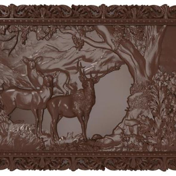 Deers on lawn Bas relief for CNC