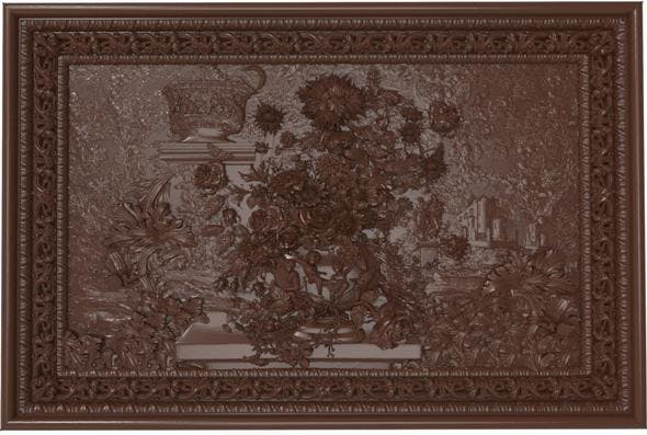 Flowers composition in the frame bas relief for CNC - 3DOcean Item for Sale