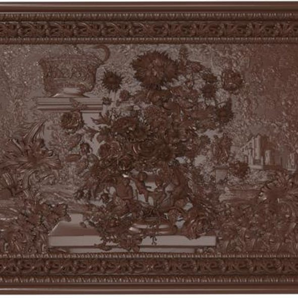 Flowers composition in the frame bas relief for CNC