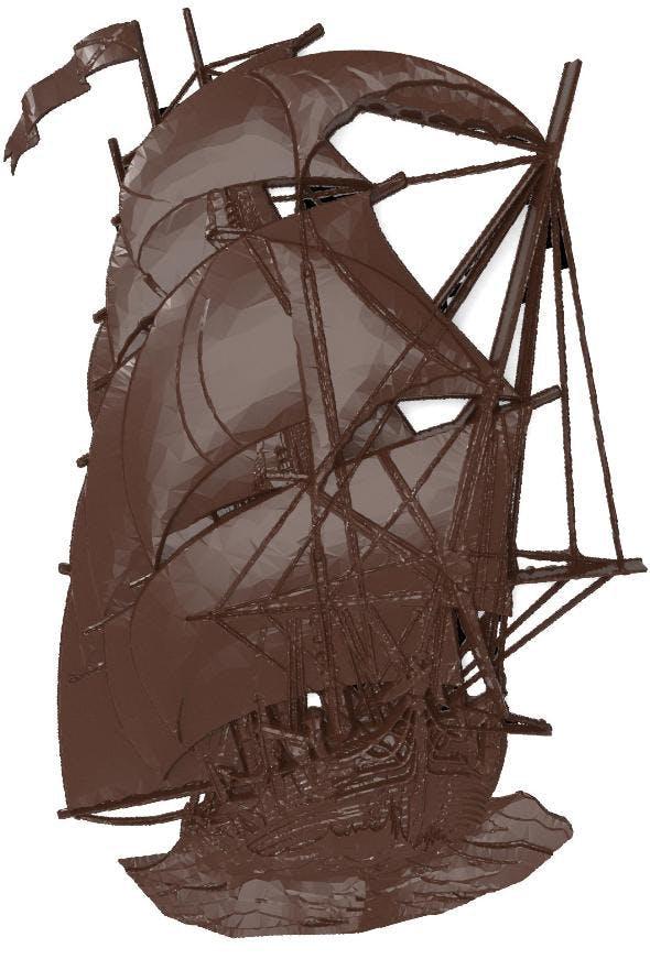 Sailer (ship) bas relief for CNC - 3DOcean Item for Sale