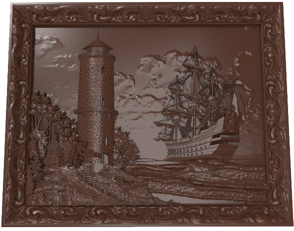 Lighthouse and sailboat bas relief for CNC - 3DOcean Item for Sale