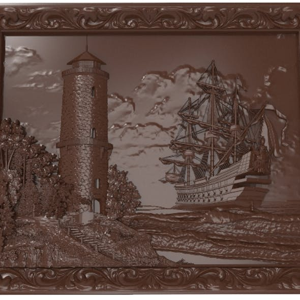Lighthouse and sailboat bas relief for CNC