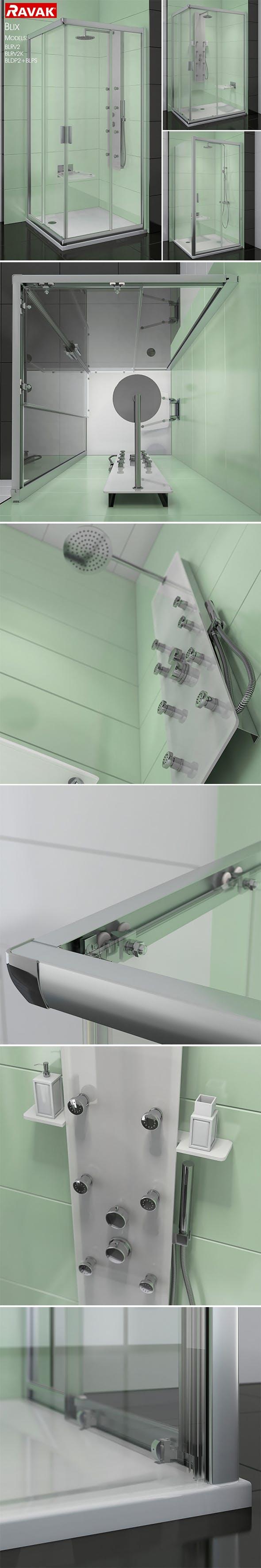 Corner shower cabins Ravak Blix - 3DOcean Item for Sale
