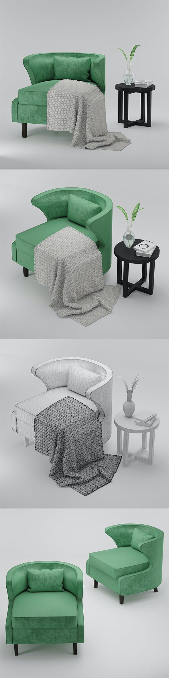 Armchair vilidiya and coffee table Eastridge Black - 3DOcean Item for Sale