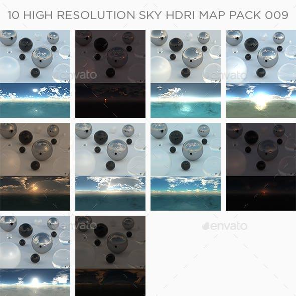 10 High Resolution Sky HDRi Maps Pack 009
