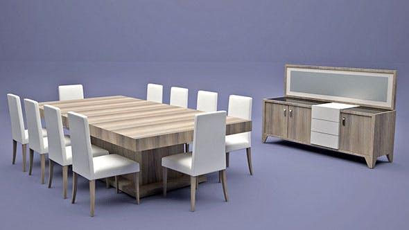 Dining Room Set - 3DOcean Item for Sale