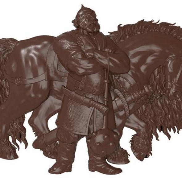 Ilya Murometz and his combat horse bas relief for CNC