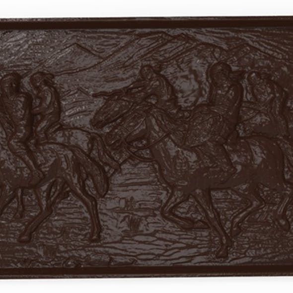 Asian horsemen Bas relief for CNC